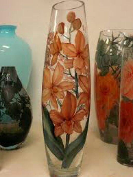 Flowers Vase Glass Painting Ideas Pinterest Painted Glass