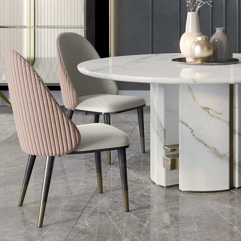 Luxury Italian Designer Contemporary Round Marble Dining Table In