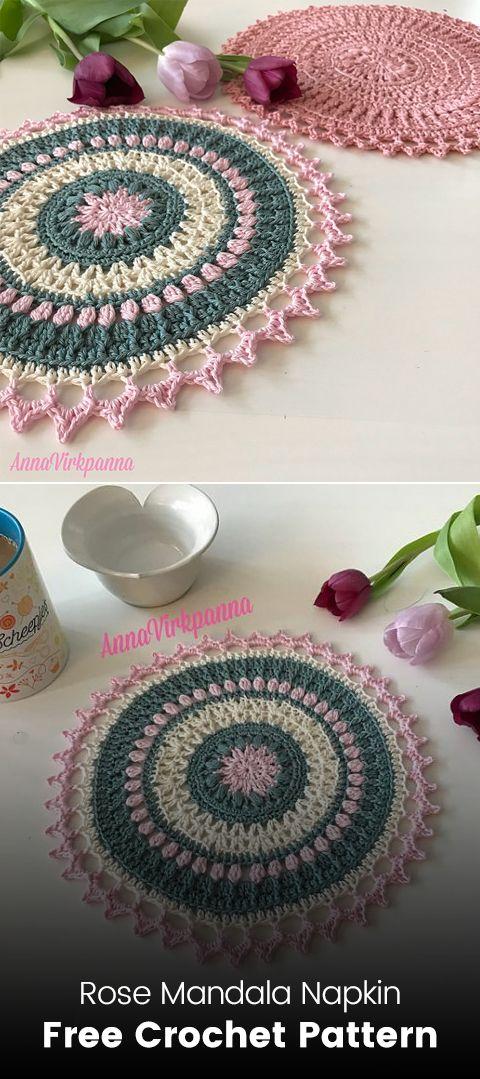 Rose Mandala Napkin Free Crochet Pattern #crochet #crafts #homemade ...