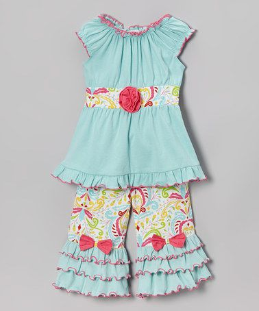 Another great find on #zulily! Blue & Pink Vicky Top & Pants - Infant, Toddler & Girls #zulilyfinds