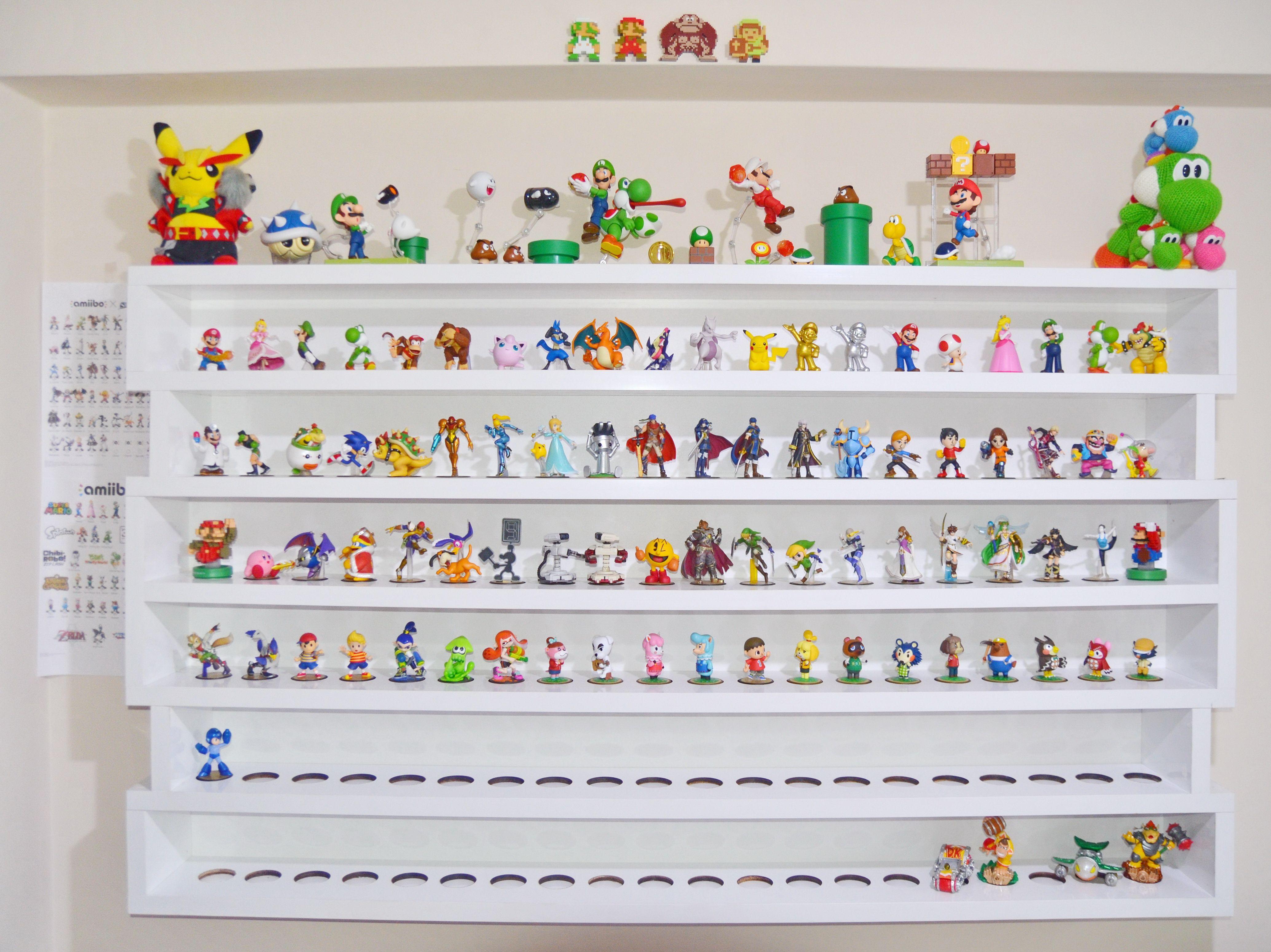 Filling up Amiibo shelves Clean organized display via Reddit user
