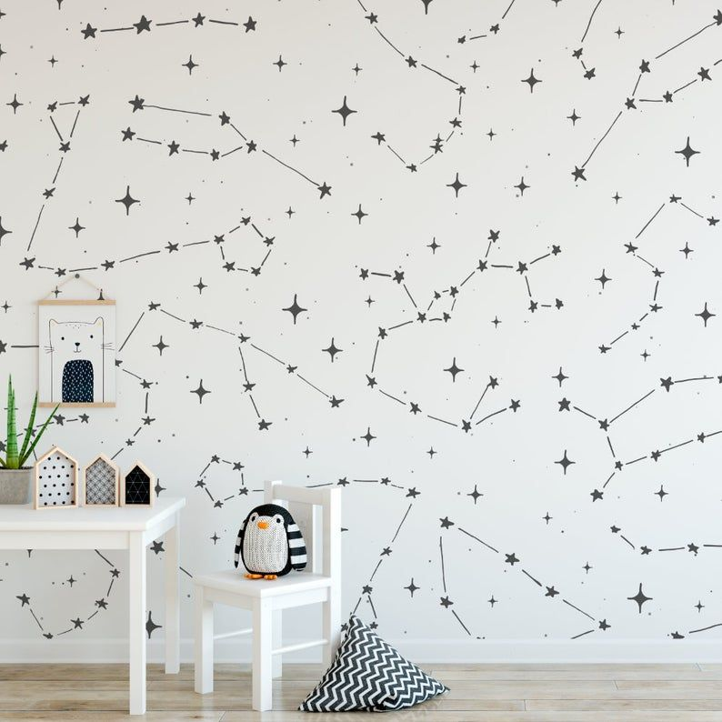 Constellations Wallpaper Peel And Stick Wallpaper Stars Etsy Nusery Decor Space Decor Room Wallpaper