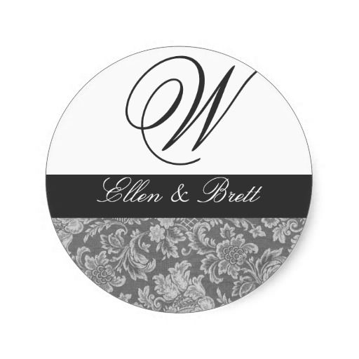 Wedding Monogram Charcoal Damask Round Stickers