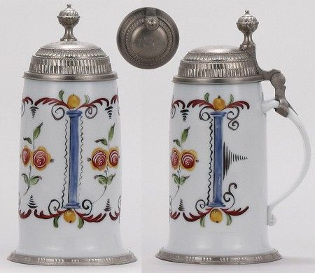 Glass stein, 1.0L, blown, early 1800s, milk glass, enameled, floral design, pewter lid & footring, lid dated 1810, mint (1100-1400)