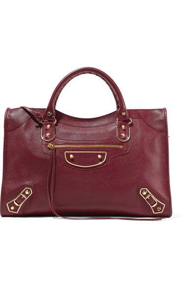 c4fc89317d6 Balenciaga - Metallic Edge City Textured-leather Tote - Burgundy - one size