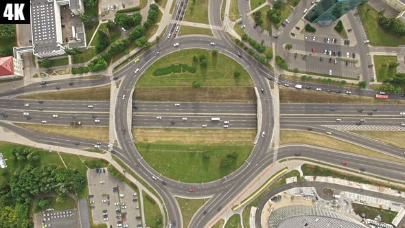 Roundabout Highway Interchange By Bokstas Roundabout Footage Great For Any Video Presentation Showcasing Road Junction Road Tr Roundabout Aerial Aerial View
