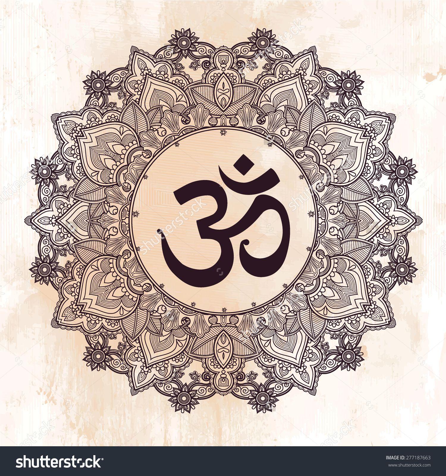 Lord Ganesha & Diwali Om Mandala Symbol. Round Ornament ...