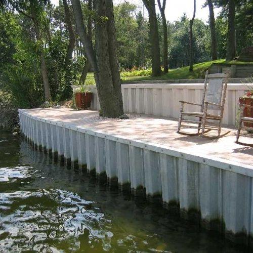 Steel Wall Located In Belleville Michigan Sea Wall Residential Landscaping Michigan Landscaping