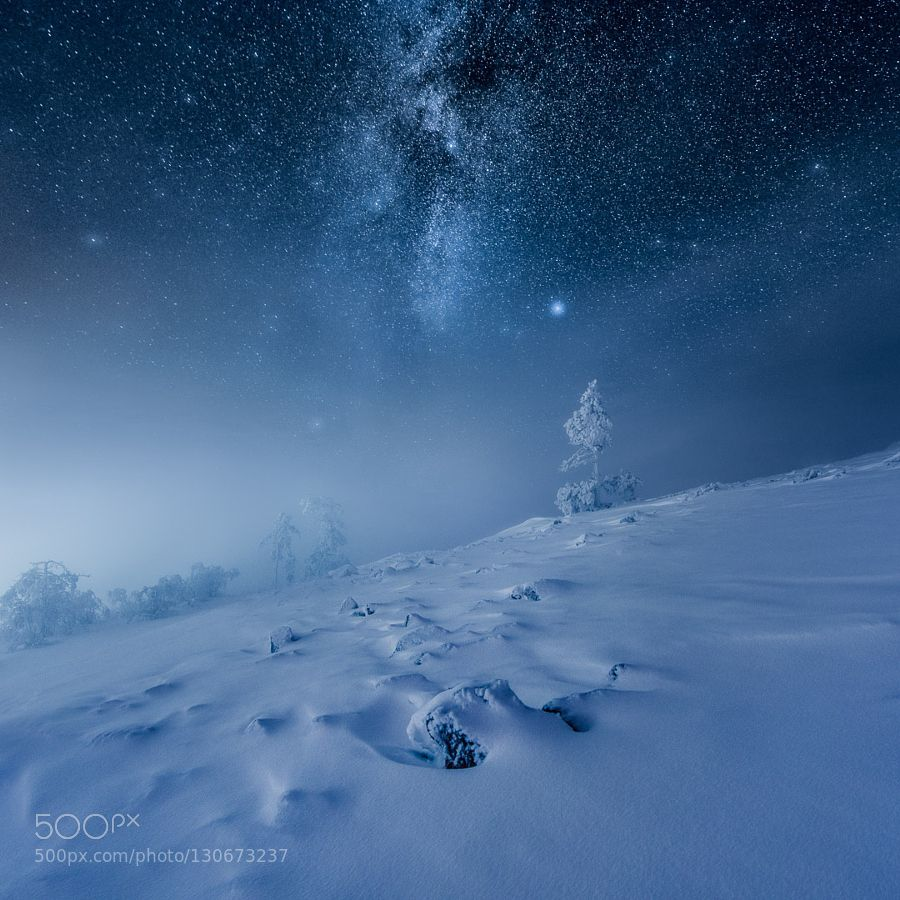 Frozen World #MikkoLagerstedt - A view from Ylläs Finland captured a couple of weeks ago. There was a short moment of clear night sky visible when we visited this spot for the last time. Visit my website and learn my techniques.