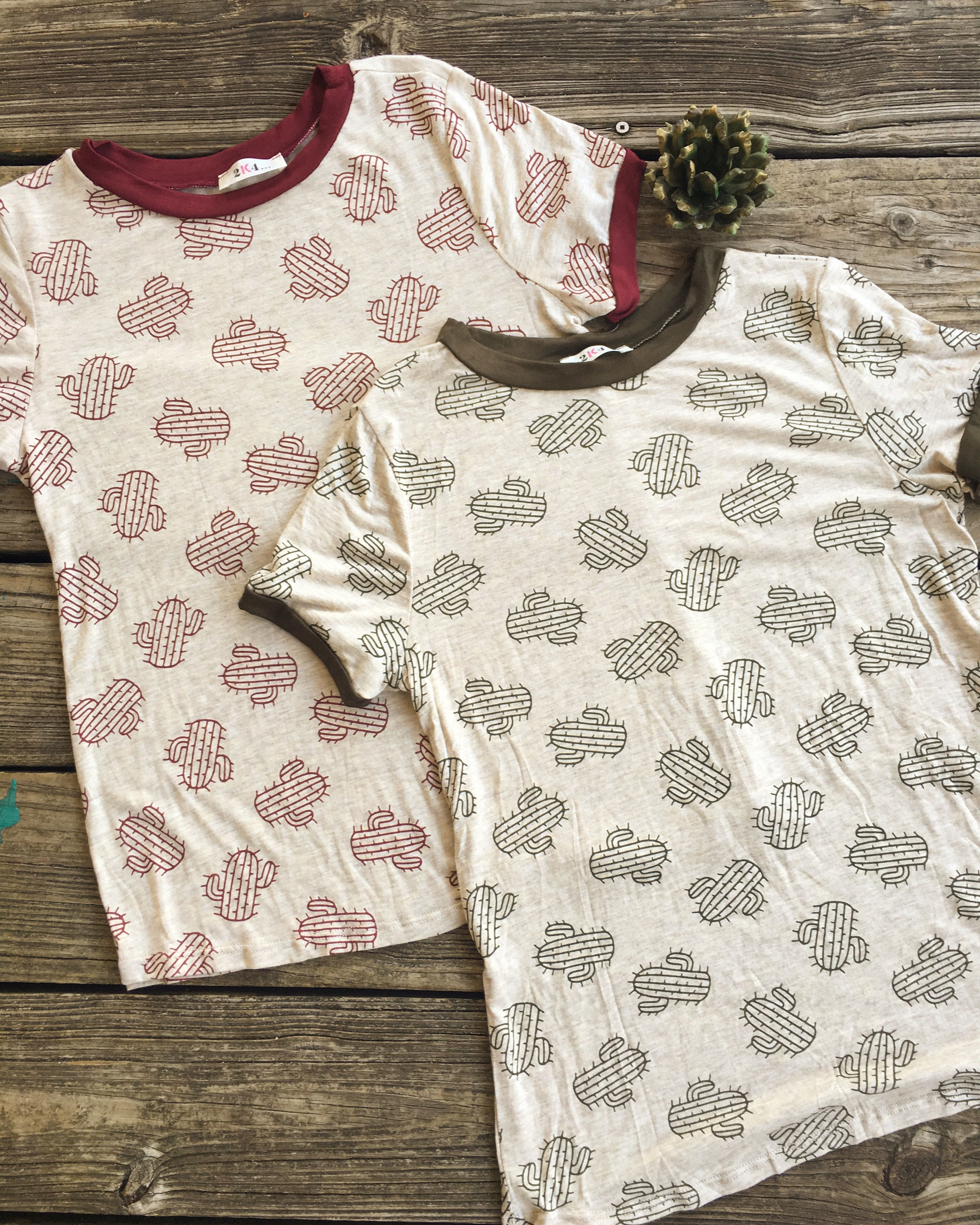 NEW Prickly Cactus Ringer Tees