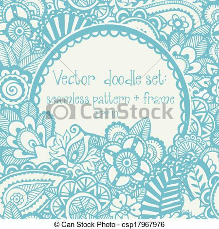 Vector set: seamless hand-drawn pattern and frame. - csp17967976