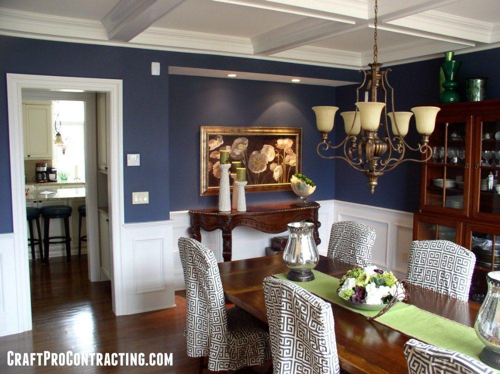 Formal dining room painted van deusen blue above white for Formal dining room paint