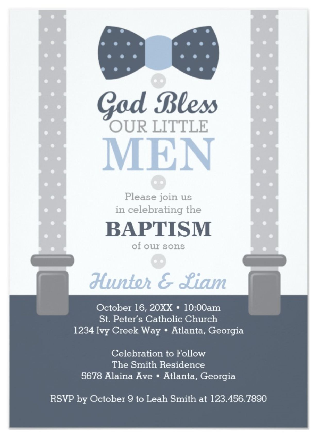twin little men baptism invitation blue gray invitation baptisms