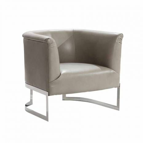 Smoke Bonded Leather Modern Accent Chair Metal Frame Accent