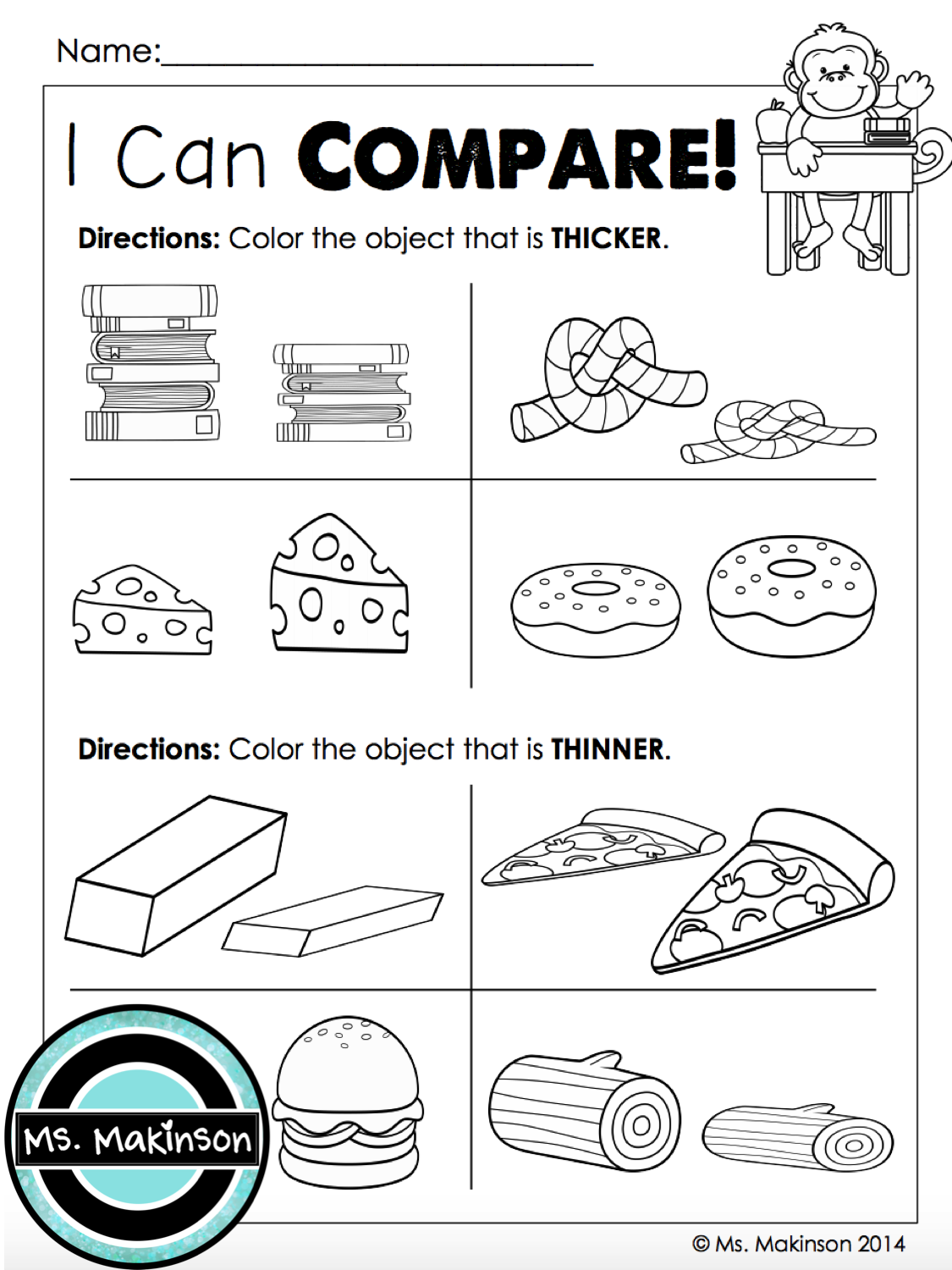 Measurement Comparing Thicker And Thinner First Grade Printables By Ms Makinson First Grade Math Math Measurement [ 1500 x 1125 Pixel ]