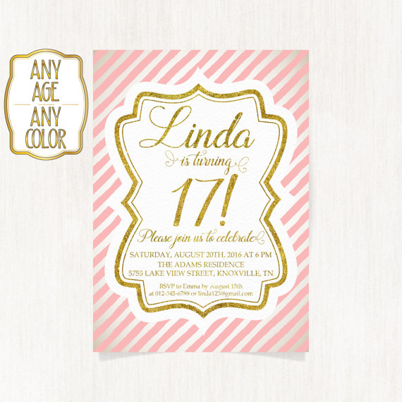 17th birthday invitation seventeenth birthday party gold glitter 17th birthday invitation seventeenth birthday party by coolstudio stopboris Images