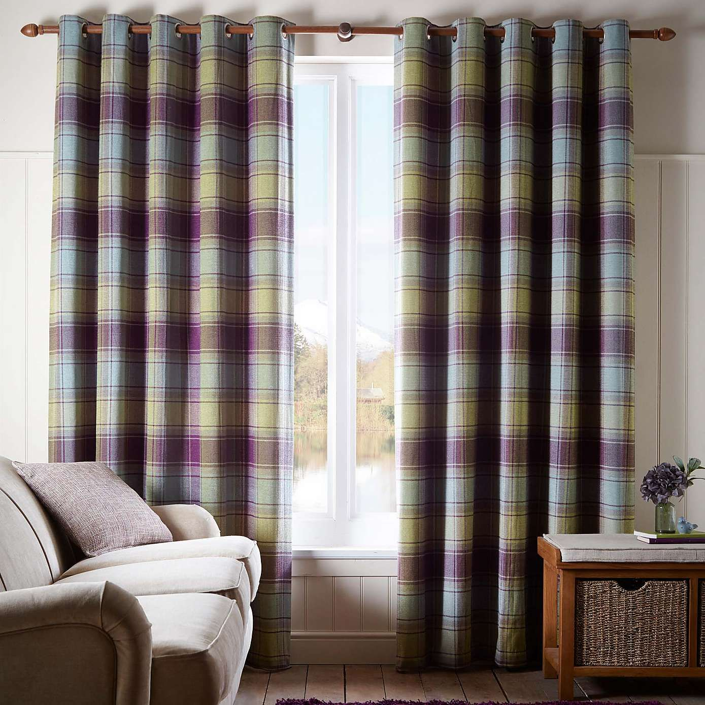 Orkney Purple Check Eyelet Curtains - Dunelm