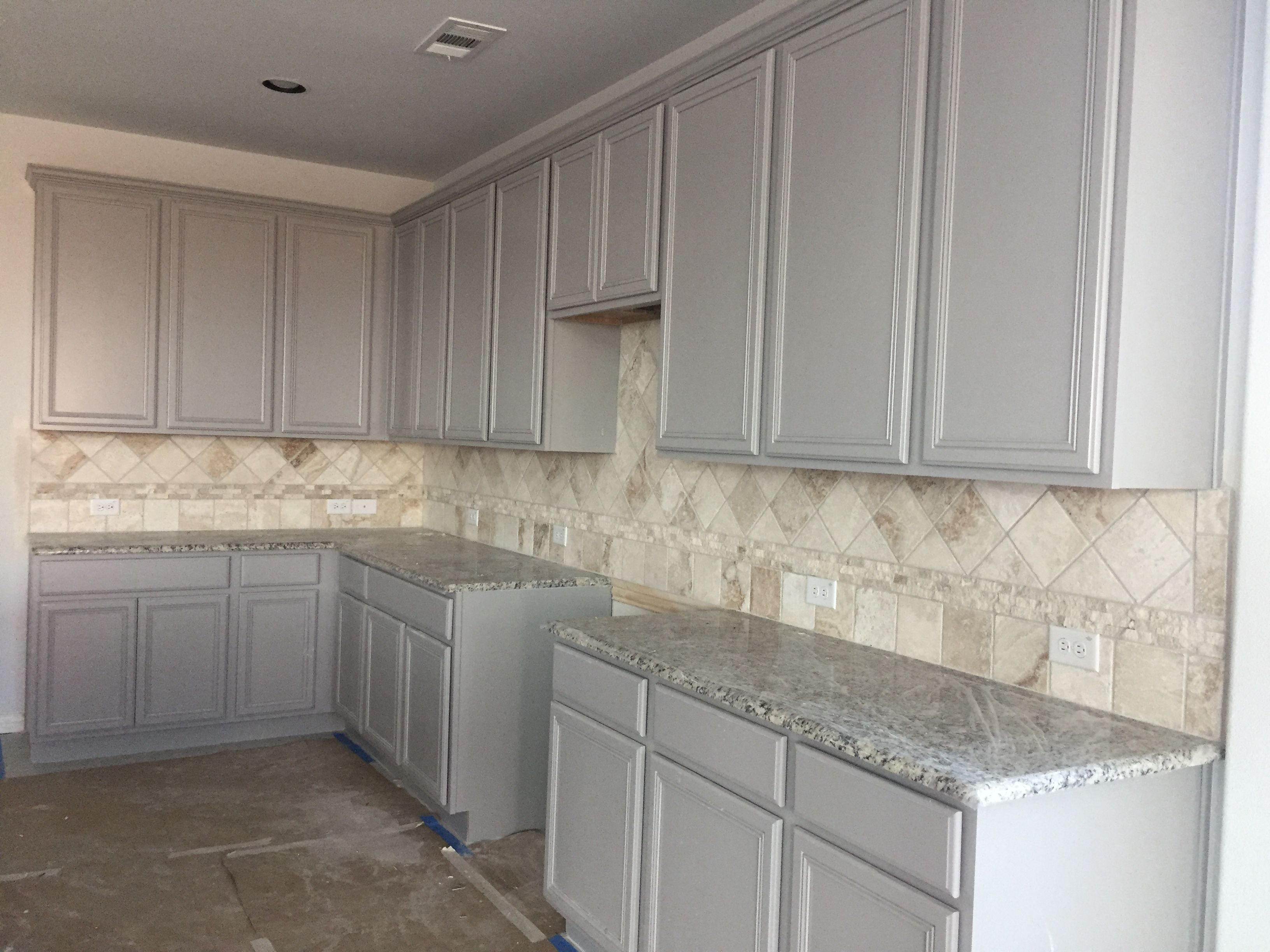 Gray Kitchen Cabinets With Travertine Backsplash Trendy Kitchen
