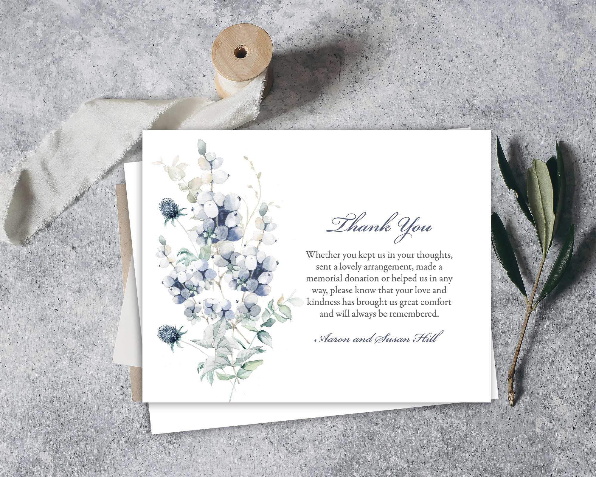 Funeral Acknowledgement Card Template Sympathy Etsy Funeral Thank You Cards Funeral Thank You Funeral Thank You Notes