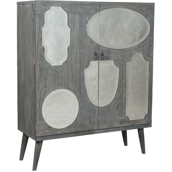 Whimsical Mirrored Cabinet ($1,895) ❤ liked on Polyvore featuring home, furniture, storage & shelves, hand carved mahogany furniture, mahogany furniture, gray furniture, handmade furniture and hardware furniture