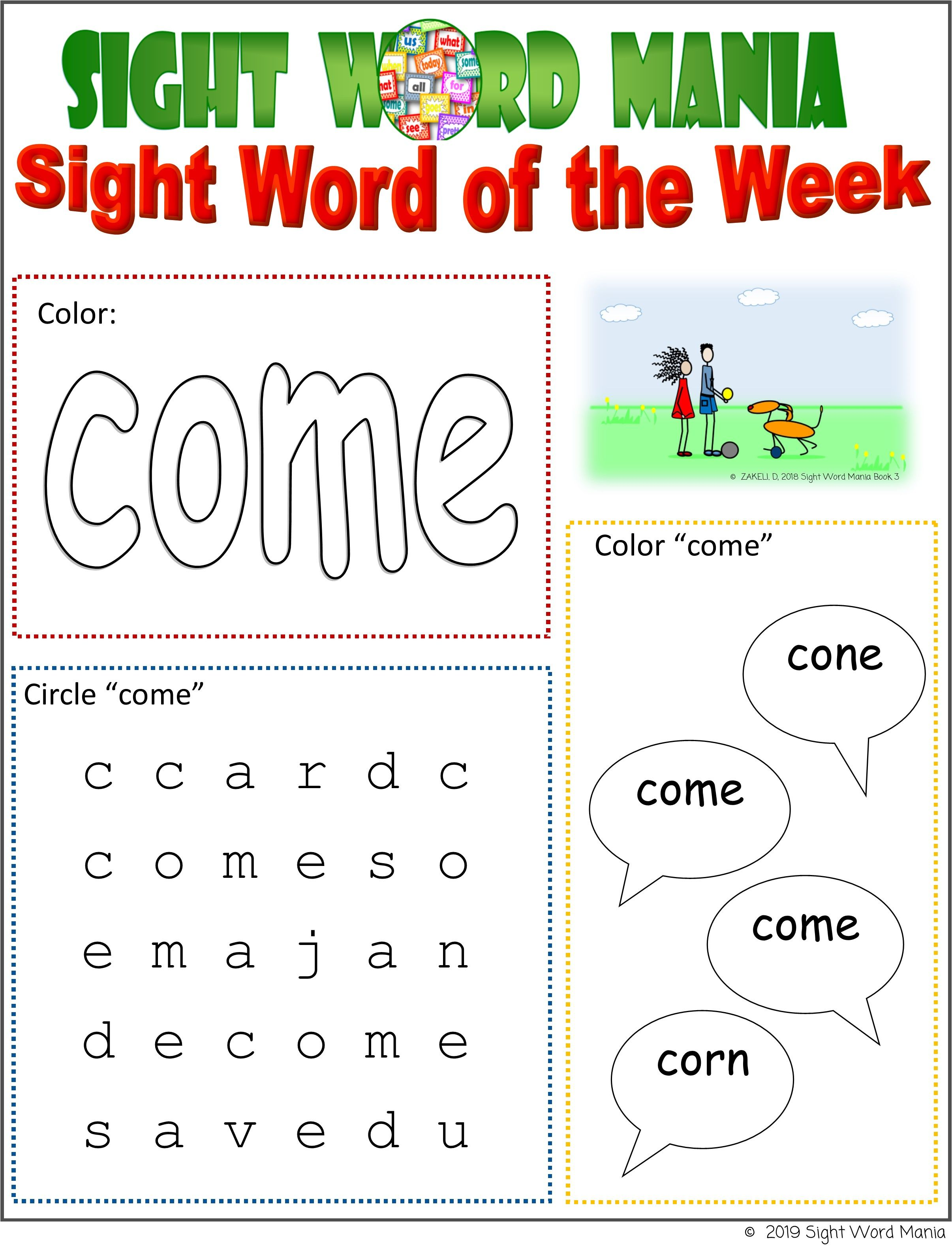 Our printable Fry's and Dolch Sight Word activity