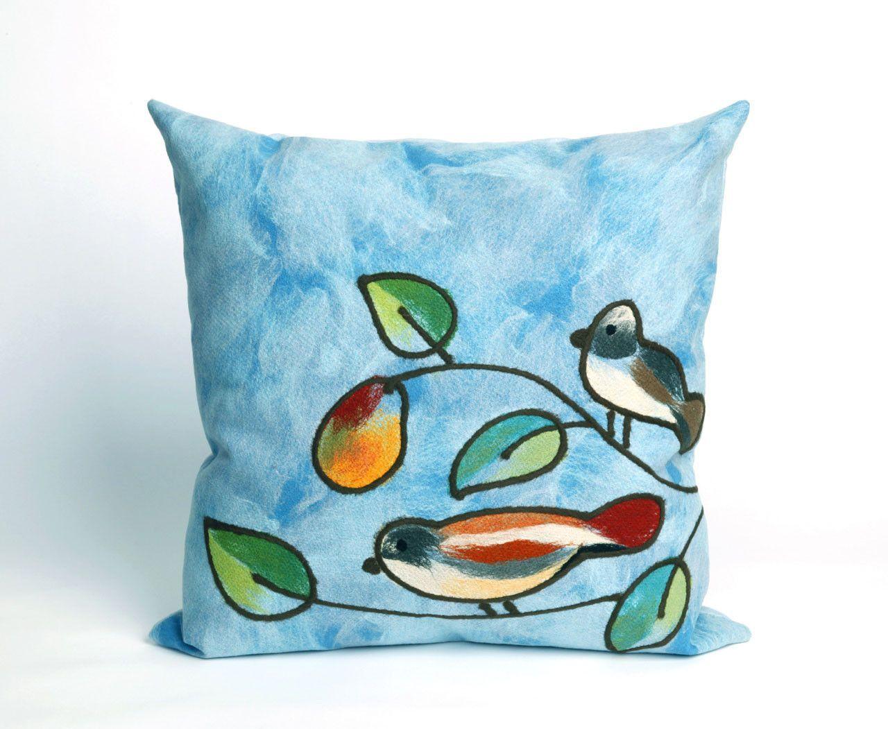 "Song Birds Blue 20"" Square Indoor Outdoor Pillow Outdoor"