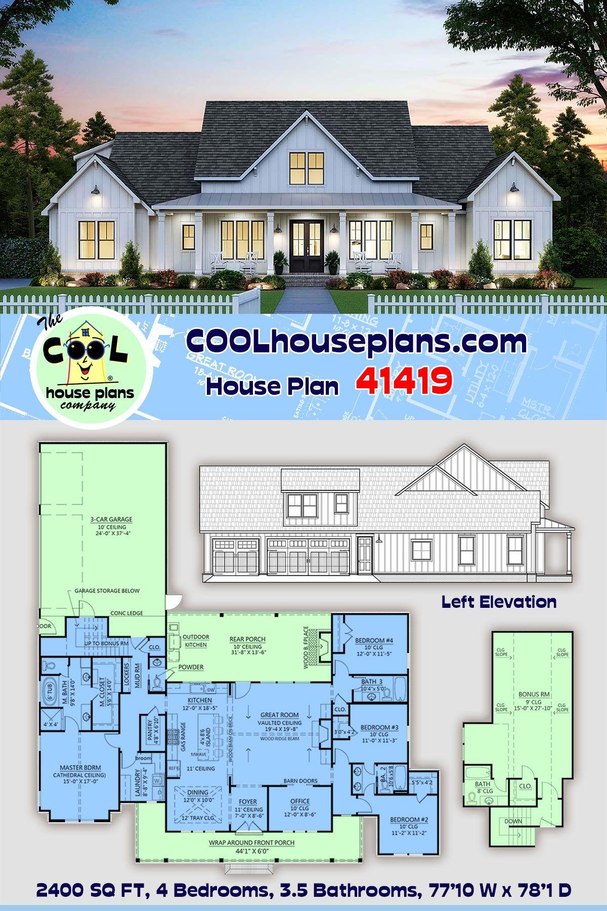 Farmhouse Style House Plan 41419 With 4 Bed 4 Bath 3 Car Garage In 2020 Affordable House Plans Farmhouse Style House Farmhouse Style House Plans