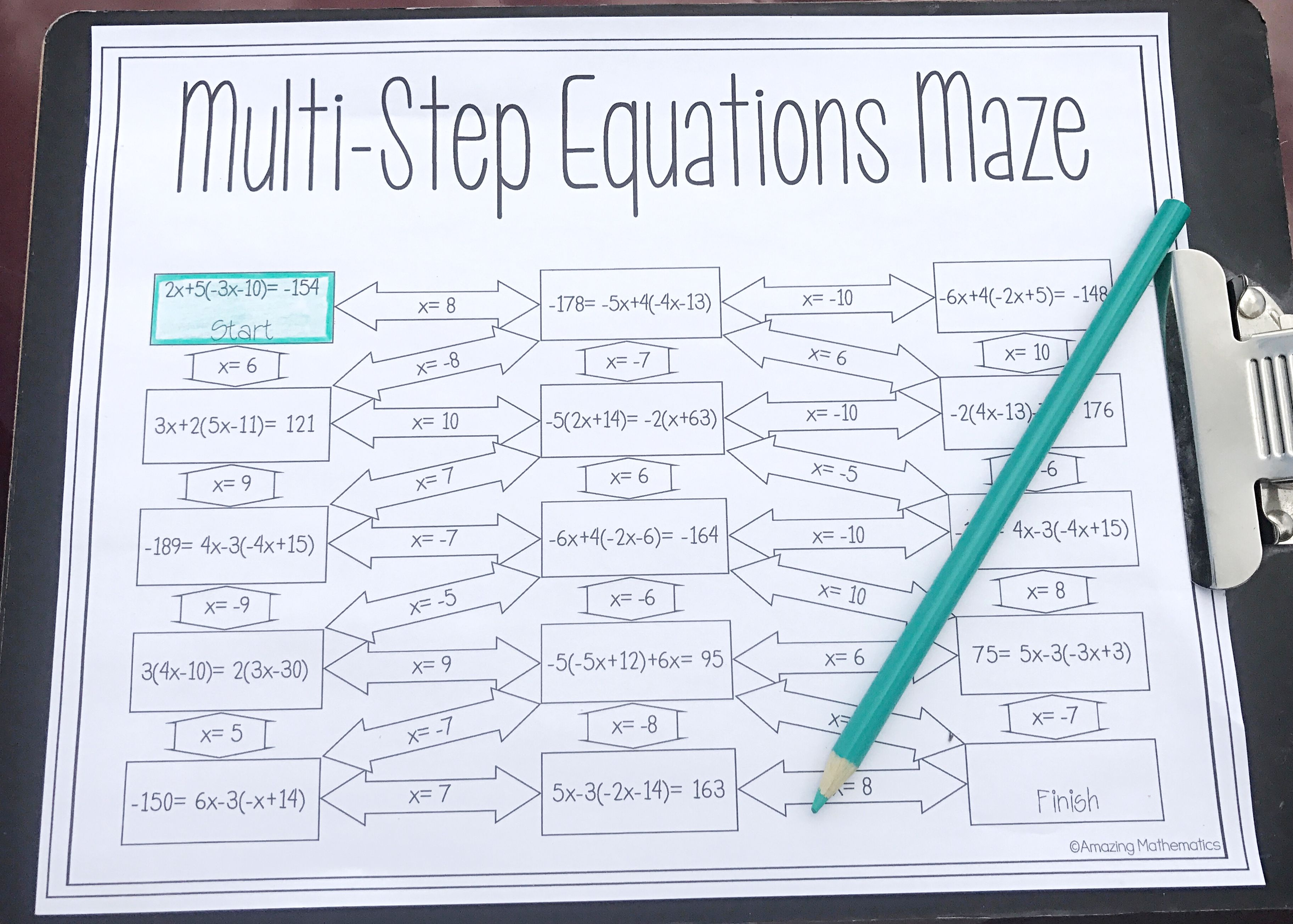 small resolution of Solving Multi-Step Equations Worksheet - Maze Activity   Multi step  equations worksheets