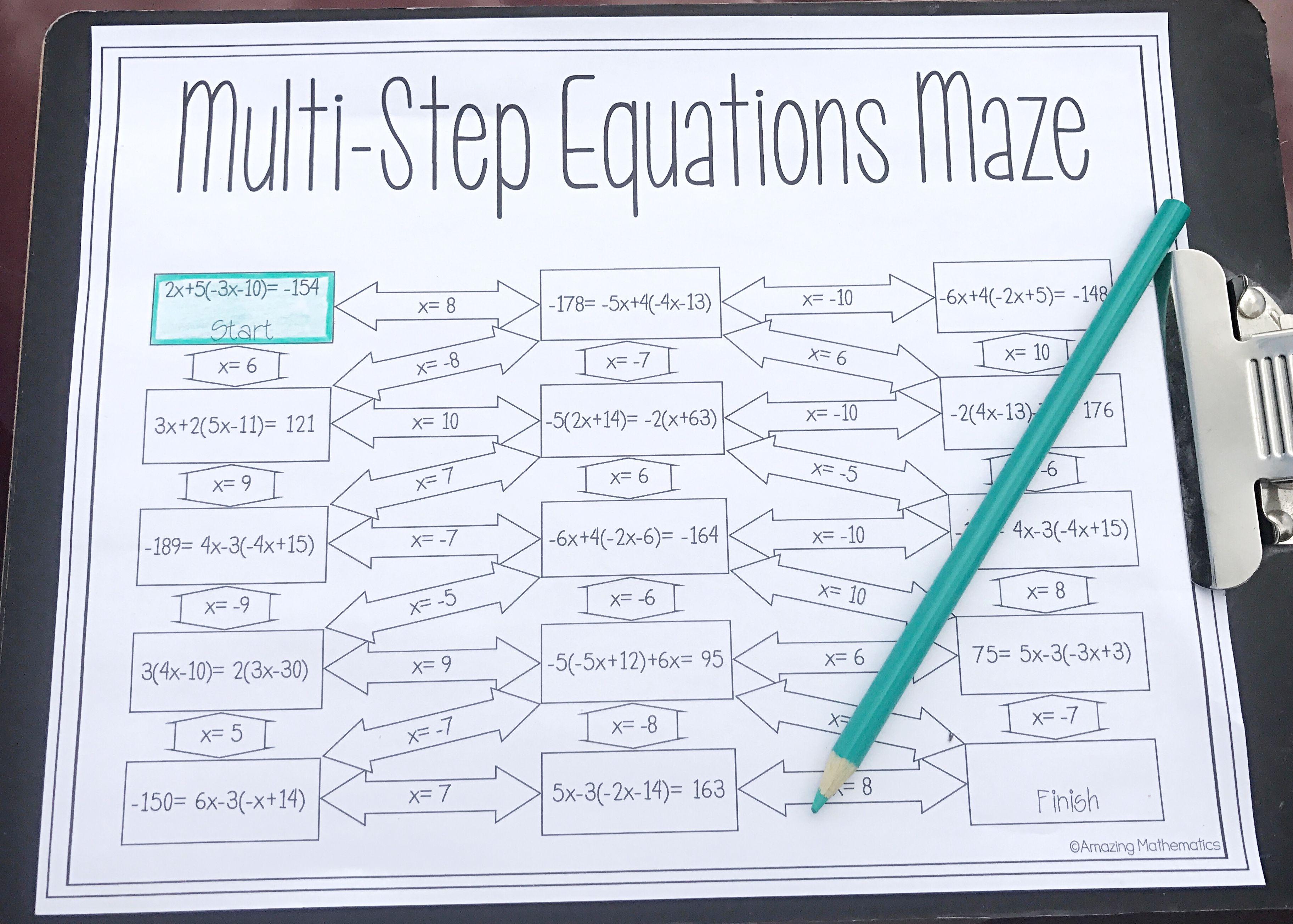 Solving Multi-Step Equations Worksheet - Maze Activity   Multi step  equations worksheets [ 2609 x 3650 Pixel ]
