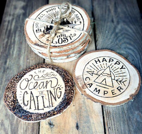 Wood Coasters - Nautical Woodburned Coaster - Pyrography - Wood Burned Coaster Set - Tree Slices - Nautical Decor                                                                                                                                                     もっと見る