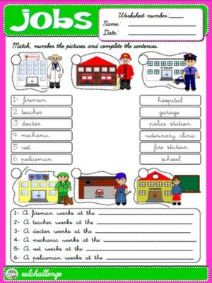 Jobs Public Places Worksheet 6 Available In Bw School