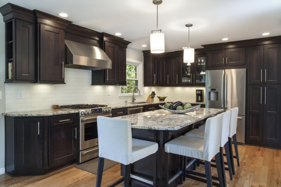 fabulous central island kitchen unit. L : Espresso Staining Kitchen Cabinet With Dark Walnut And Wonderful Stains White Granite Countertop Island By Seating Height Wooden Chairs Also . Fabulous Central Unit