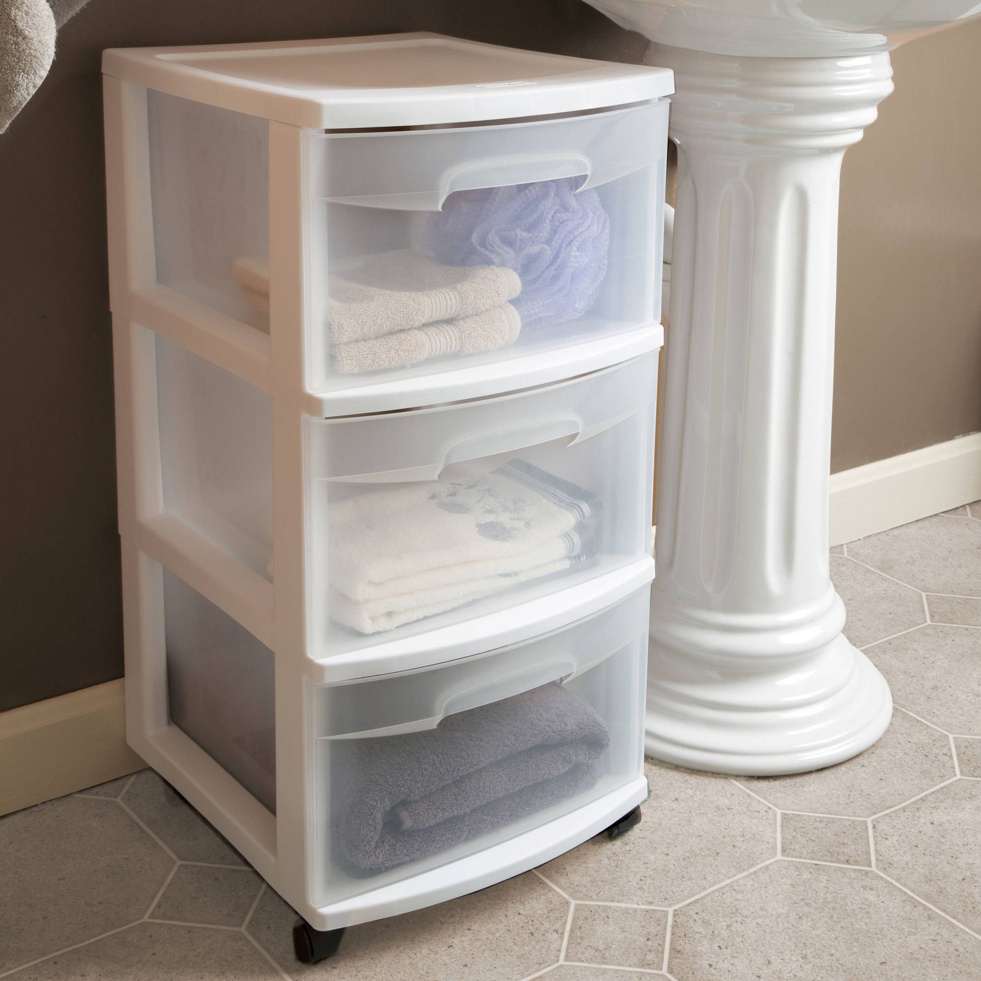 2 Drawer Acrylic Organizer In 2020 Plastic Storage Cabinets Plastic Storage Drawers Bathroom Drawer Storage