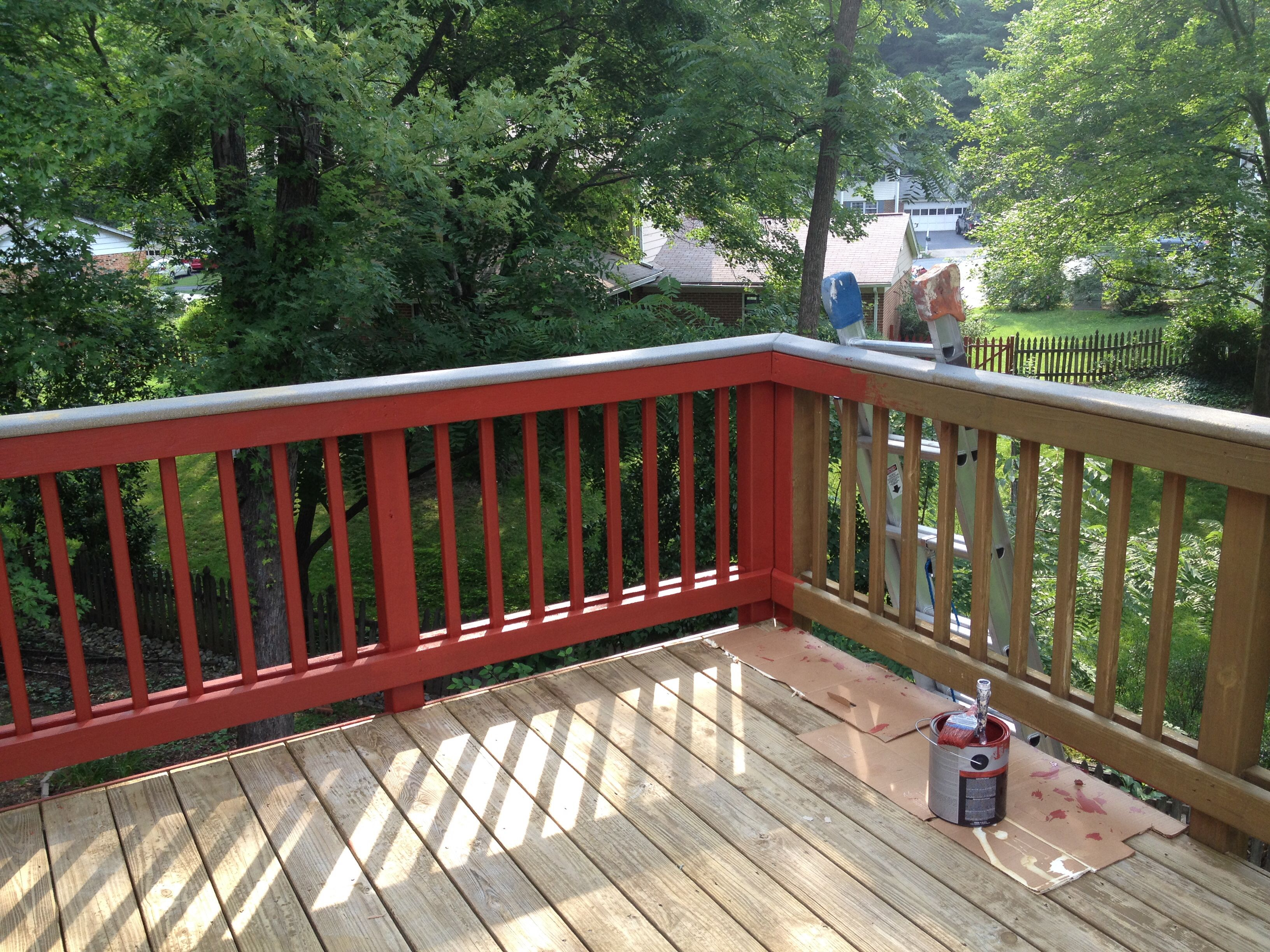 Deck Staining Solid Color Stain Navajo Red Sikkens With Images