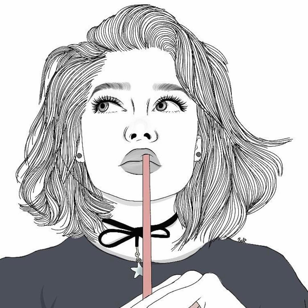 thinking girl #tumblroutlines | outlines in 2019 | Tumblr ...