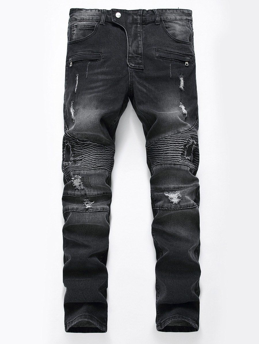 Men/'s Distressed Quilted Stretch Skinny fit Moto Zipper Jeans