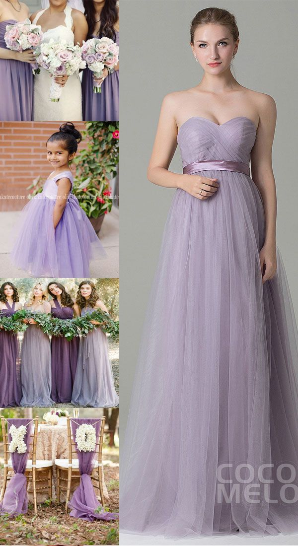 951c689a025a Charming Sheath-Column Natural Floor Length Tulle Light Purple Sleeveless  Zipper Convertible Bridesmaid Dress with