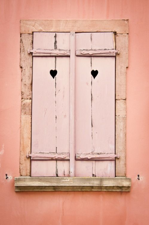 Coastalcottage Window With Wooden Shutters By Jacinthe Brault Lt 3 Wooden Shutters Pink Houses Doors