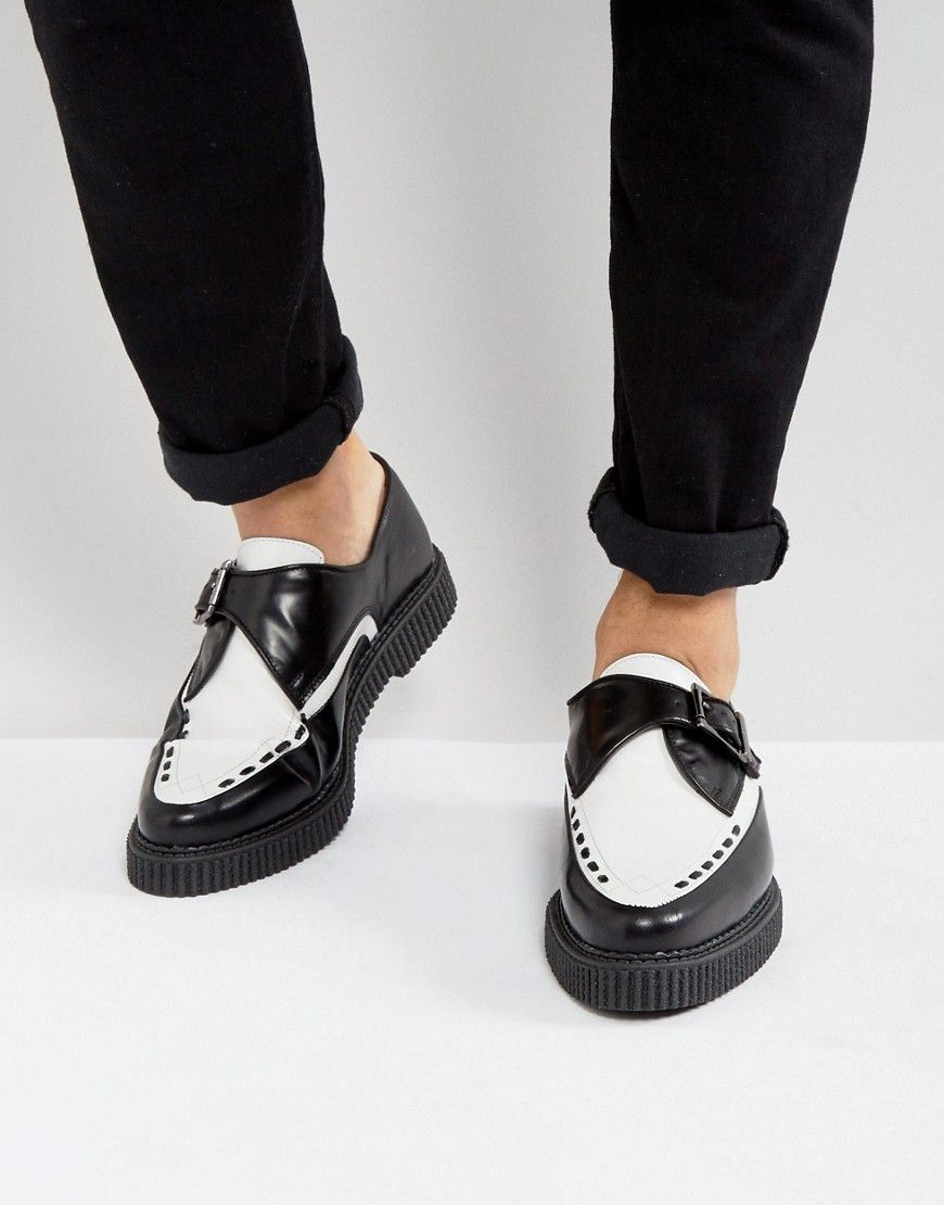 b61986a5c70 Rockabilly Men s Clothing ASOS Monk Creeper Shoes In Black And White Leather  - Black £55.00 AT vintagedancer.com