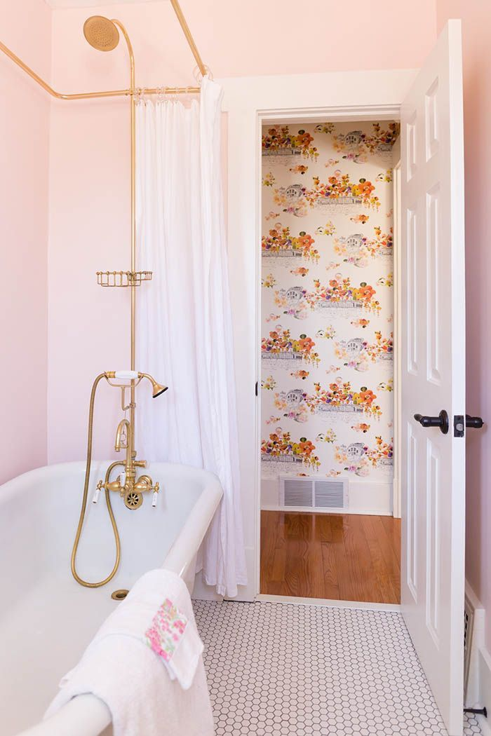 I Think Need A Pale Pink Bathroom Also Love The Gold Shower Hardware And Clawfoot Tub Of Course