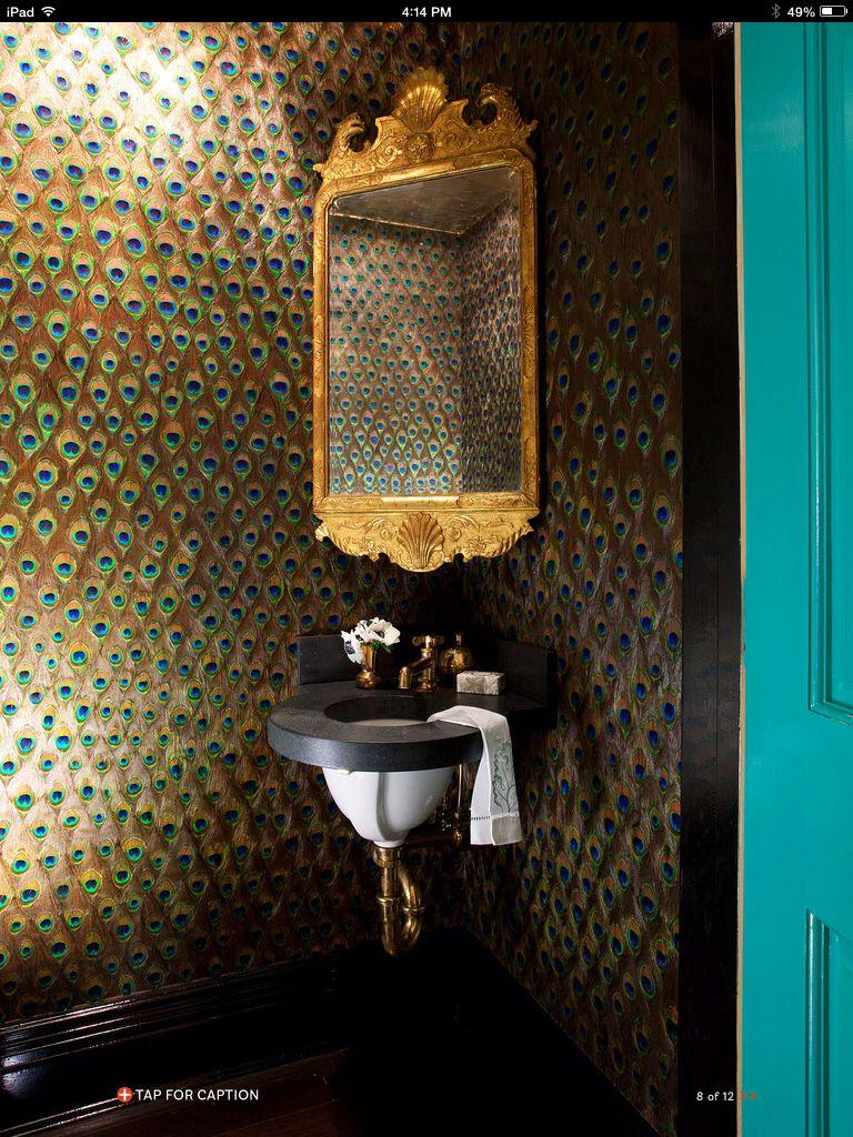 Peacock wallpaper powder room The Bath Bathroom