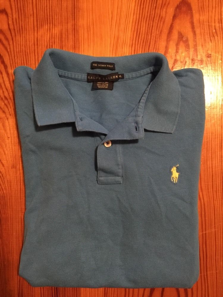 ee5e657d $6.99 Mens RALPH LAUREN Polo Shirt Blue XL Extra Large Short Sleeve The  Skinny Polo #RalphLauren #PoloRugby