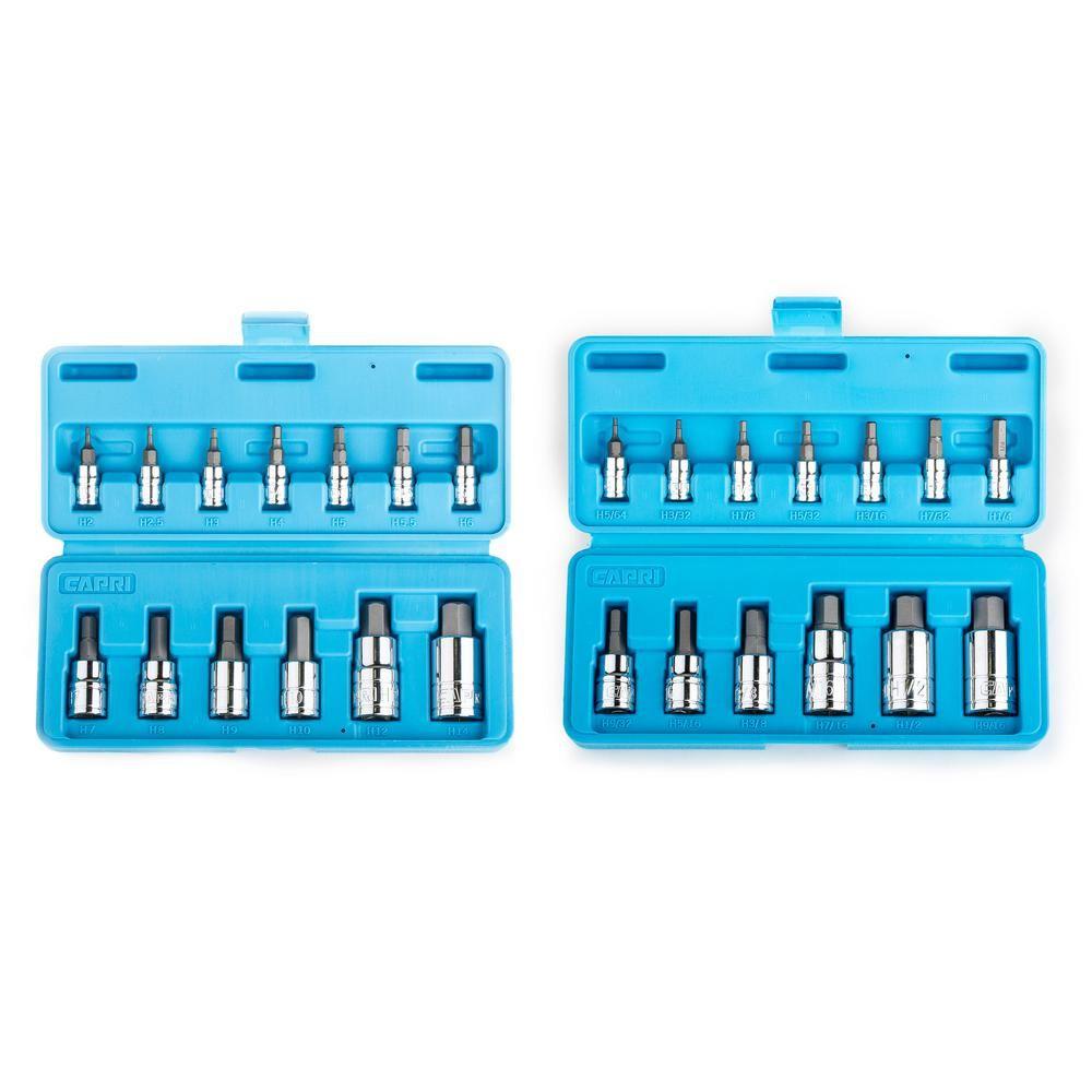 Capri Tools Metric and SAE Hex Bit Socket Set (26-Piece)
