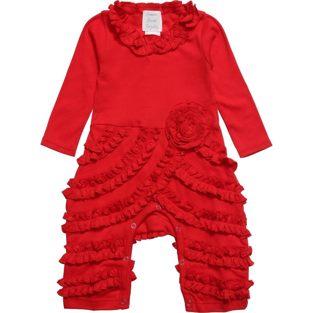 Lemon Loves Layette red 'Peony' romper made from soft Pima cotton. It has sassy ruffles around the neckline and legs with a beautiful ruffled flower on the waist, giving it a unique look. It has poppers inside the legs for easy dressing and nappy changes.<br /> <ul> <li>100% super soft pima cotton</li> <li>Machine wash (30*C)</li> <li>Style name: Isabel</li> <li>Designer colour: True Red</li> </ul>