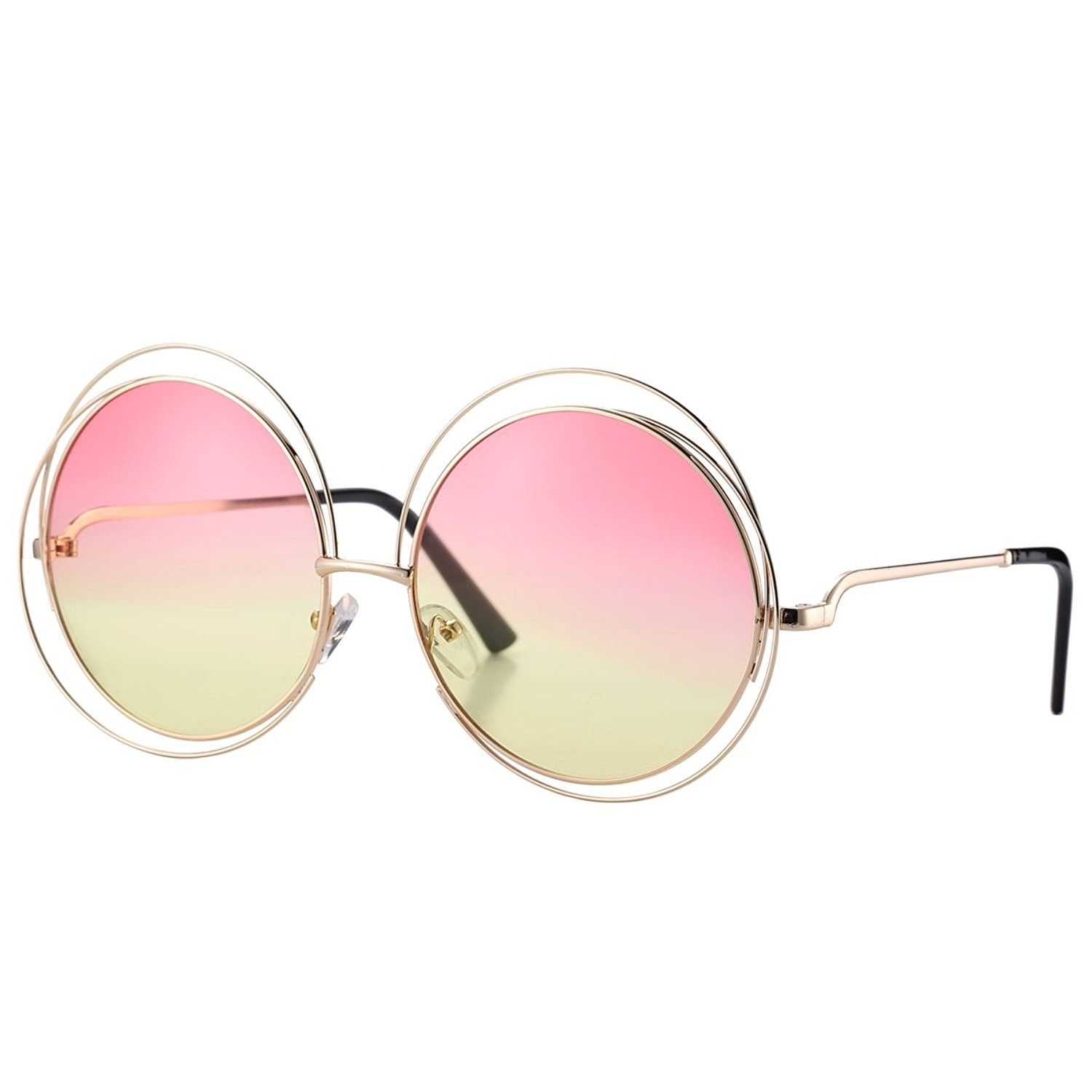 afc1a80048e Women s Double Circle Metal Wire Frame Oversized Round Sunglasses - Pink  Yellow Gradient - C912NZXF68B