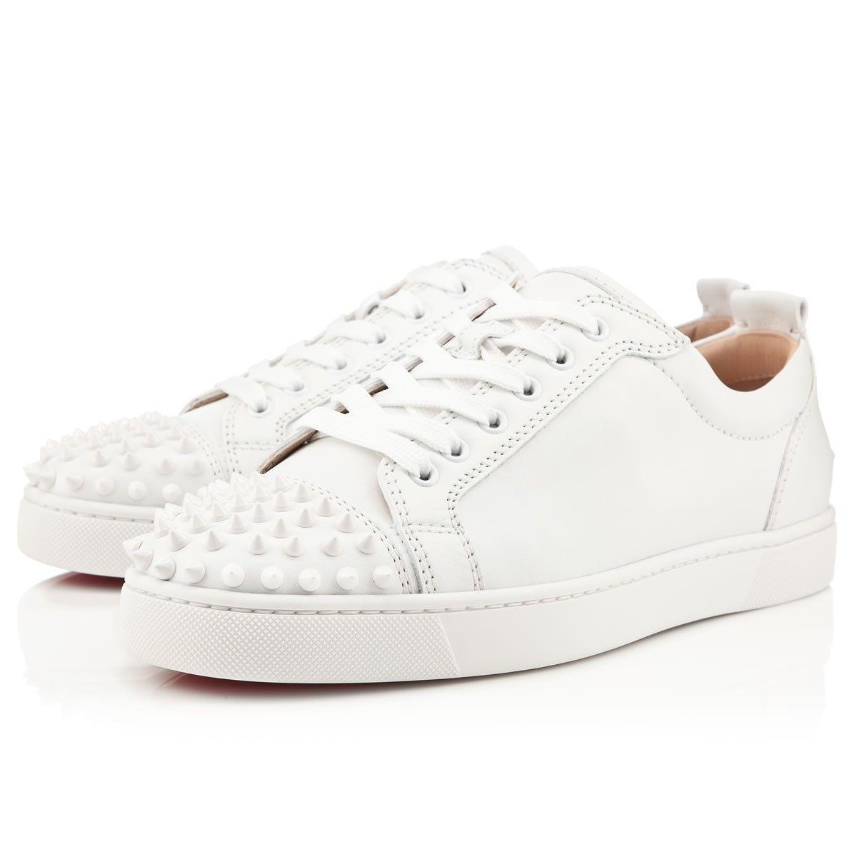 LOUIS JUNIOR SPIKES FLAT White/White Calf - Men Shoes - Christian Louboutin