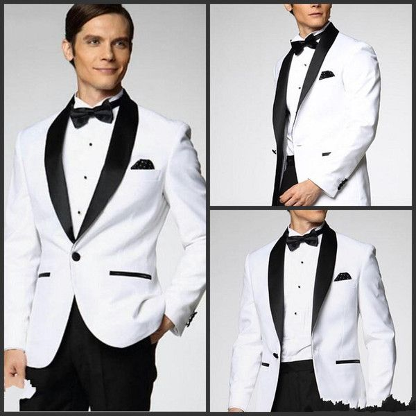 Two Piece Custom Made Generous Classic White One Button Groom ...