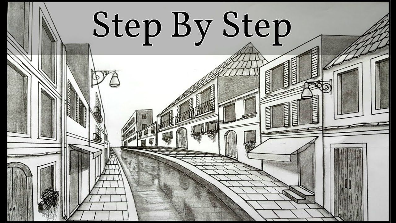 How to draw in one point perspective venice scene step by