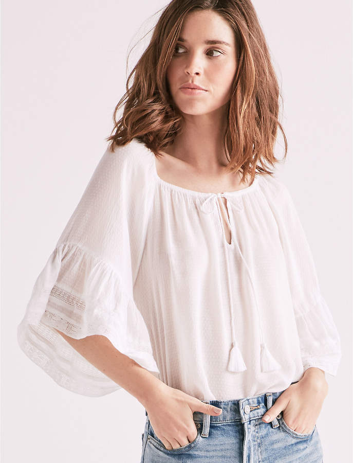 04c7f7a5ce7411 Lucky Brand Bell Sleeve Peasant Top