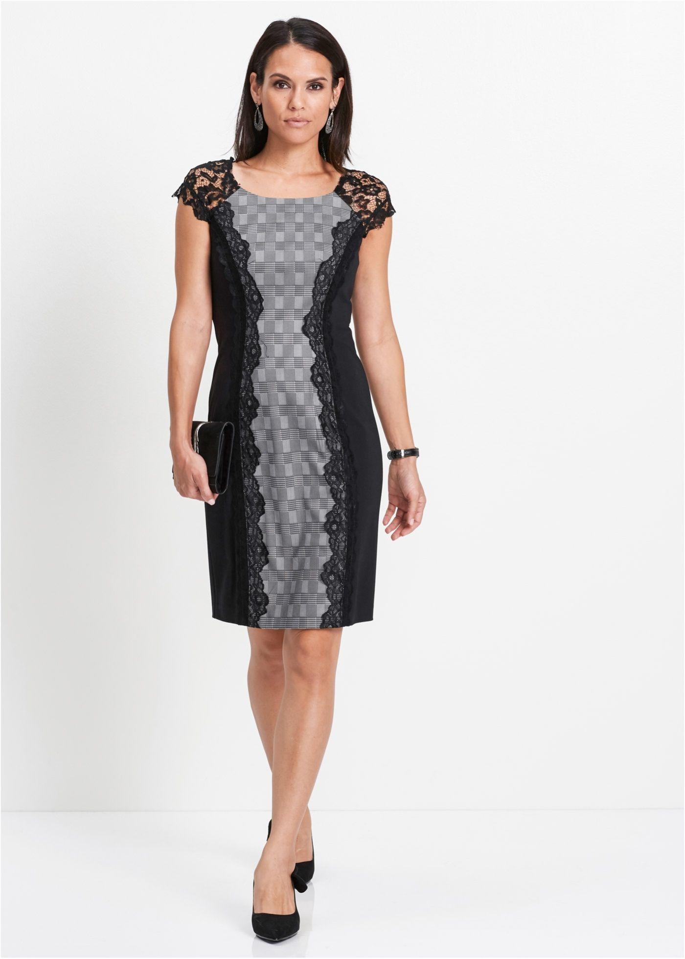punto-kleid mit spitze schwarz/weiß jetzt im online shop von